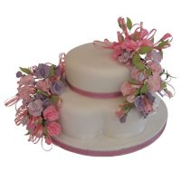 2 Tier 2 Spray Sweetpea Cake