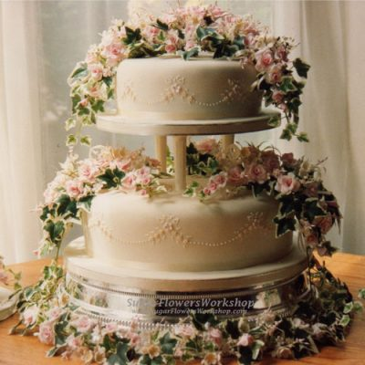 2 Tier Wedding Cake Pink Roses