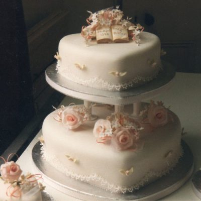 2 Tier Wedding Cake Pink Roses Book and Lace