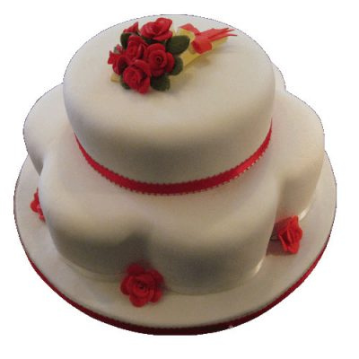 2 Tier Red Rose Cake