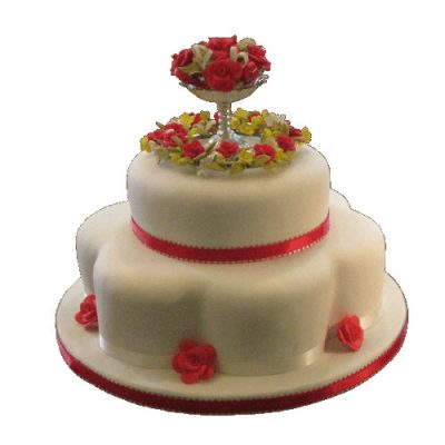 2 Tier Rose Bowl Cake