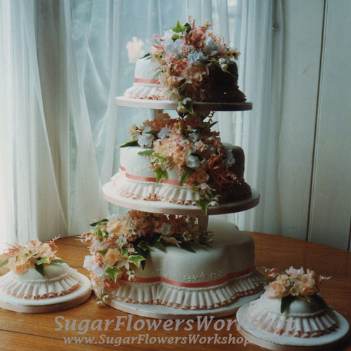 3 Tier Wedding Cake Petal Orange Roses