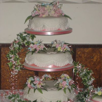 3 Tier Wedding Cake Pink Roses and Bells