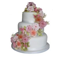 3 Tier Wedding Cake Pink Roses Orange Carnations