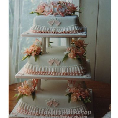 3 Tier Wedding Cake Square Orange Bells and Blossoms