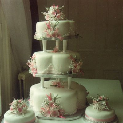 3 Tier Wedding Cake Wild Rose and Lace