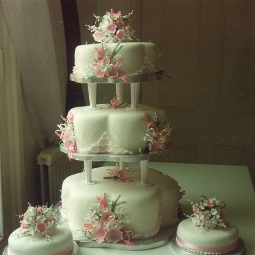 3 Tier Wedding Cake With Pink Wild Roses White Blossoms And Lace