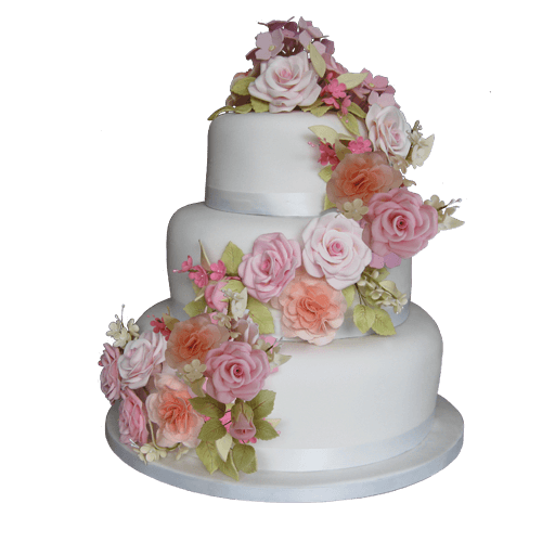 3 Tier Wedding Cake Sugar Flower Roses Carnations