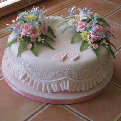 Celebration Cake Pink Roses Blue Blossoms Piped
