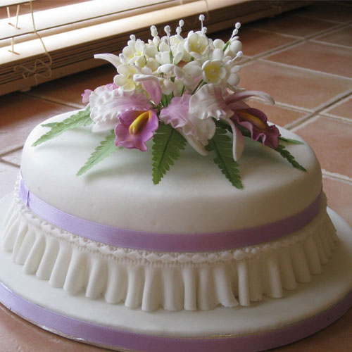 Celebration Cake Purple Orchids and Blossoms