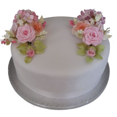 Celebration Cake Roses Hydrangeas and Blossoms