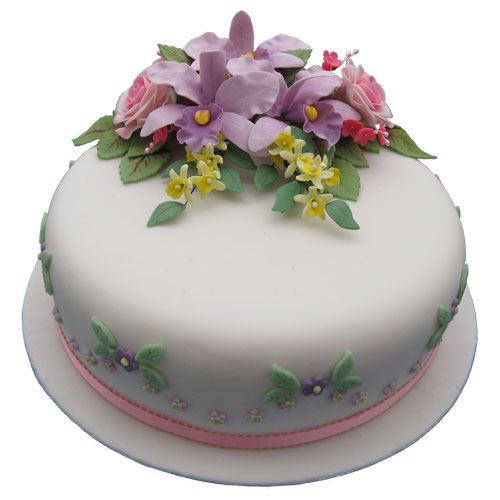 Celebration Cake Roses Orchids Yellow Blossoms