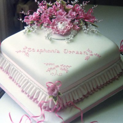Christening Cake Baby in Blossom Pink Roses