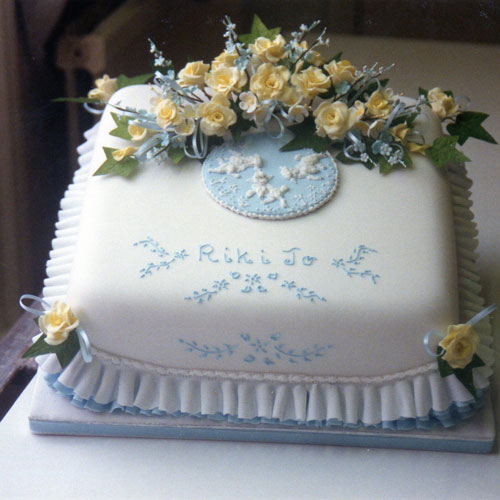 Christening Cake Lambs Yellow Roses