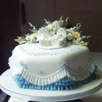 Christening Cake Twin Cribs Yellow Flowers Blue Frill
