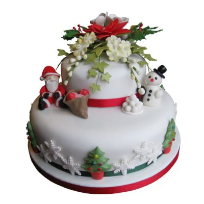 Christmas Cake 2 Tier Stacked Santa Snowman Trees Flowers