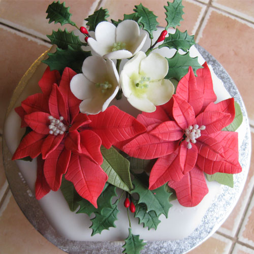Christmas Cake Poinsettia and Hellebores and Holly