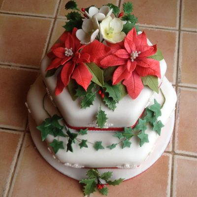 Christmas Cake 2 Tier Stacked Poinsettia and Ivy