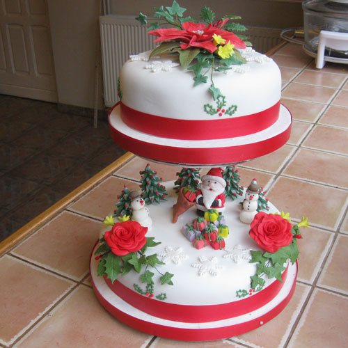 Christmas Cake 2 Tier Santa Trees Flowers