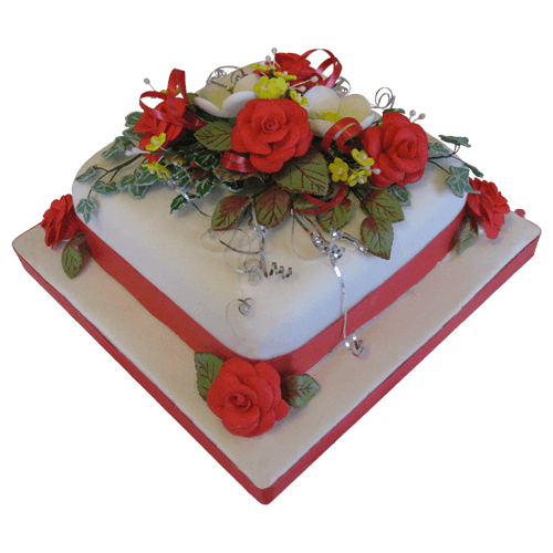 Christmas Cake Red Roses
