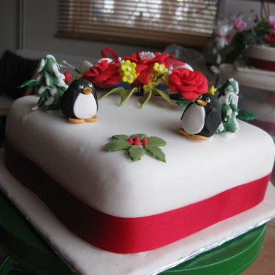 Christmas Cake Penguins and Trees