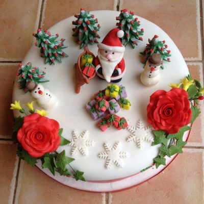 Christmas Cake Santa and Presents