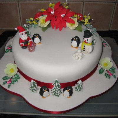 Christmas Cake Santa Snowman and Penguins