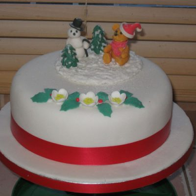 Christmas Cake Snowman and Bear