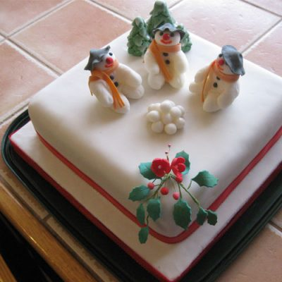 Christmas Cake Snowmen and Snowballs