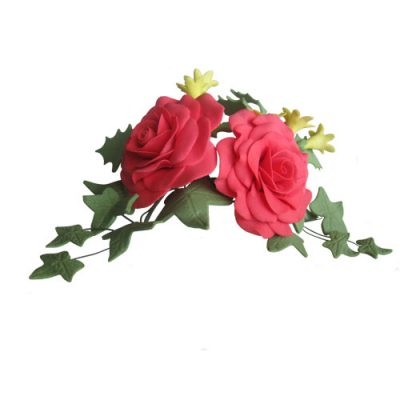 Red Roses and Ivy Sugar Flower Spray