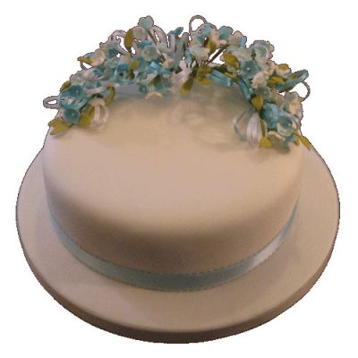 Single Tier Blue Blossom Cake