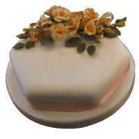 Single Tier Tangerine Rose Cake