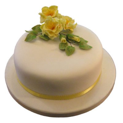 Yellow Open Rose Cake