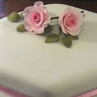 Sugar Gum Paste Rose On A Cake