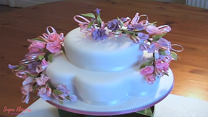 Gumpaste Sweet Pea Finished Cake