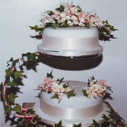 2 Tier Wedding Cake Yellow and Pink Roses