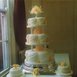 3 Tier Wedding Cake Orange Roses and Lace