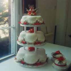 3 Tier Wedding Cake Red Carnations and Corn