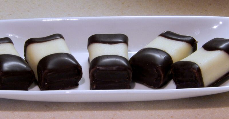 Chocolate Dipped Marzipan Cakes