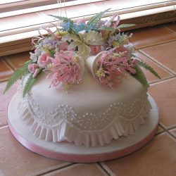 Celebration Cake Bells Roses Blossoms Orchids