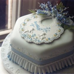 Christening Cake Bib Blue White Blossoms