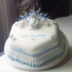 Christening Cake Crib Blue White Blossoms