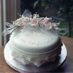 Christening Cake Pink Roses and Eyelet Lace