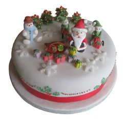Christmas Cake with Two Elves One Santa and a Snowman