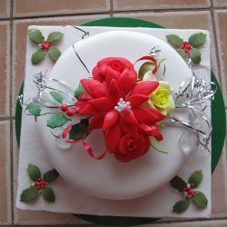 Christmas Cake Poinsettia and Silver