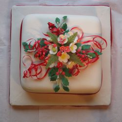 Christmas Cake Red White Blossoms and Holly