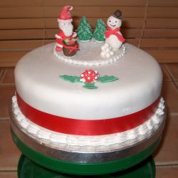 Christmas Cake Santa Snowman Presents Trees